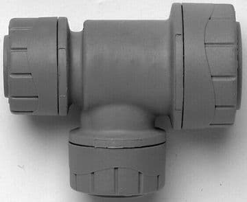 6 x Polyplumb 15-10-10mm reducing tees. Polypipe push fit plastic reducer. 22mm